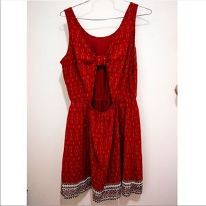 Divided H&M Red Elastic Waist Open Back Dress Bow